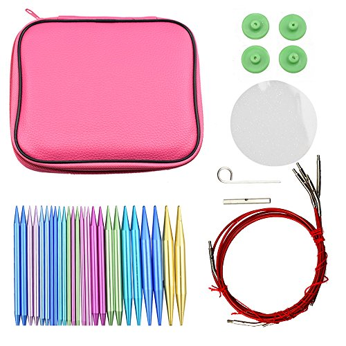 26pcs 13size Change Detachable Aluminum Circular Knitting Needle Set DIY Crafts Tools for Home Sewing Needles