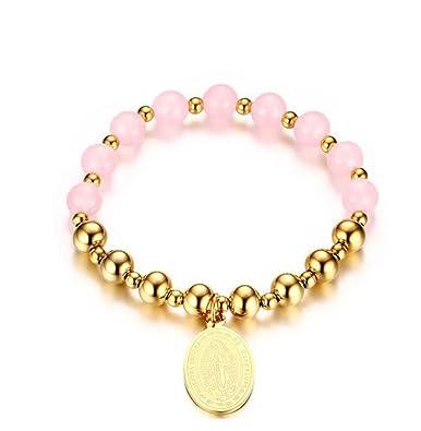 09ba5d900c8 Gudeke Vierge Marie Marque Bracelet en Perles Roses pour Femme Bracelets  Bracelet en Cuir