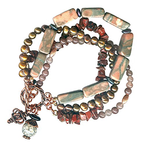 - Boho Cuff Bracelet Four Strands 7.5 Inches Copper Marble Jasper Bronze Cultured Pearl