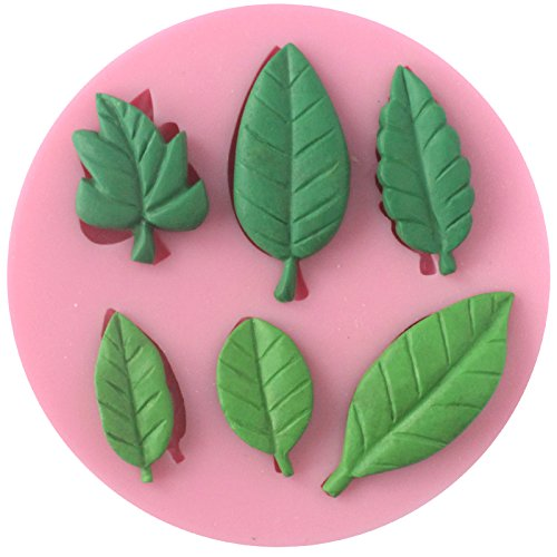 (Funshowcase 6 Leaves Fondant Leaf Candy Mold for Sugar Paste, Chocolate, Fondant, Butter, Resin, Polymer Clay, Wax, Soap, Crafting Projects and Cake Decoration)