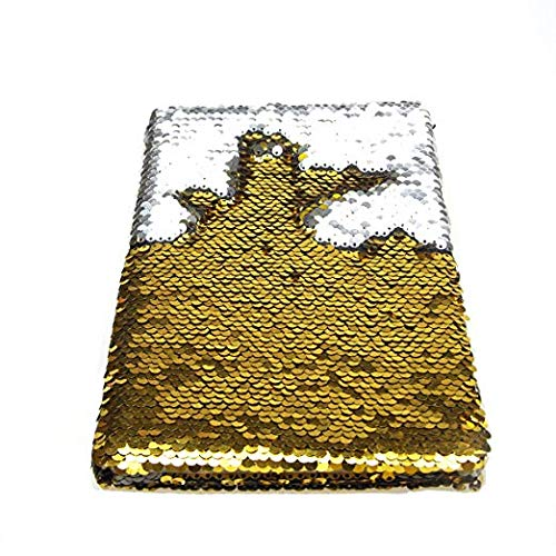 Poitemsic Flip Reversible Sequins Notebook Gold Girls Mermaid Sequin Notebook Diary Gift for Adults and Kids Boys Diaries School Supplies - 160 Pages ()