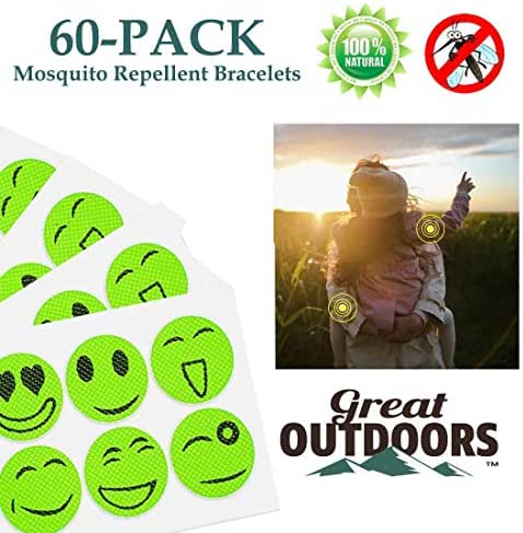 GREAT OUTDOORS TM Mosquito Repellent Patches Natural, Insect Bug Protection up to 24 Hours Bands, Deet-Free Patch, Pest Control for Kids & Adults (60-Pack, Green Smile)