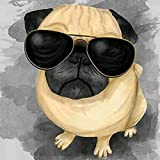Peyan Sunglasses Dog Animal 5D Diamond Painting Kits Full Drill Crystal DIY Wall Sticker 3D Diamond Mosaic Cross Stitch Embroidery 8 x 8 inches