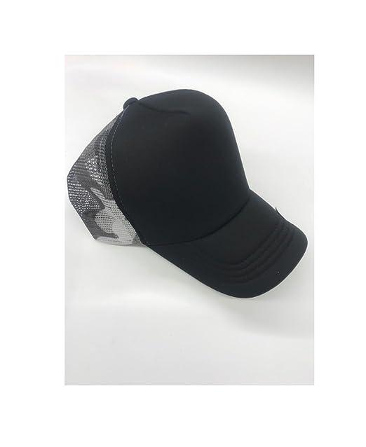cfd7d9a0c6c Amazon.com  hat Two-Toned Mesh Baseball Cap Adjustable Black Grey ...