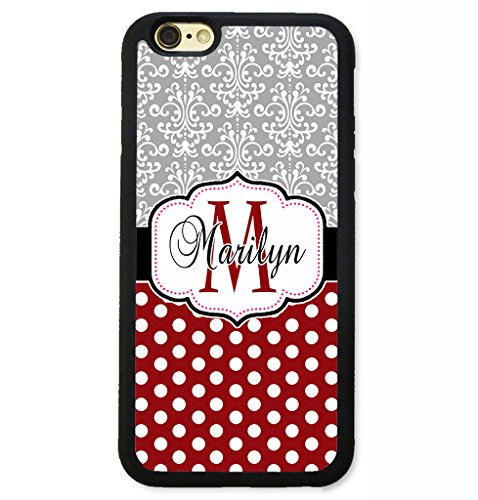 iPhone 8 Case, iPhone 7 Case, ArtsyCase Grey Damask Maroon Polka Dots Monogram Personalized Name Phone Case for iPhone 7 and iPhone 8 (Black)