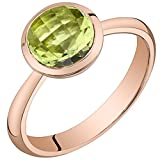 14k Rose Gold Peridot Solitaire Dome Ring (2.00 carat) Size 9