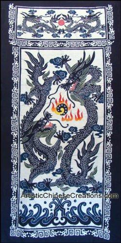 (Chinese Wall Decor / Chinese Folk Art: Large Chinese Batik Wall Hanging - Twin)