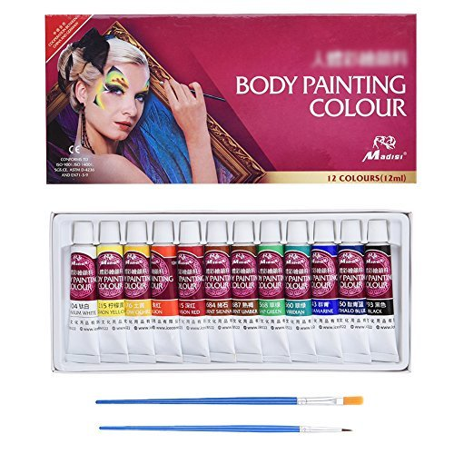 Pretty See Face Painting Kit Art Make-up Set Body Paint Kit with Rich Pigment and 2 Free Paintbrushes by PRETTY SEE