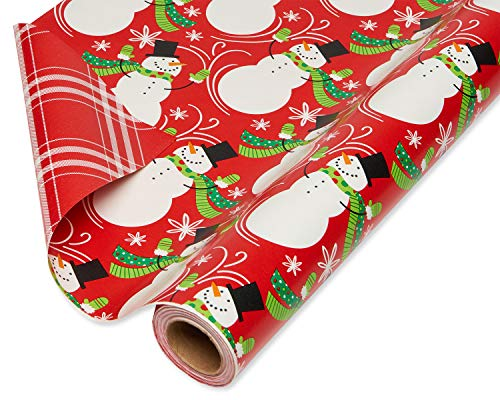 American Greetings Christmas Wrapping Paper Reversible Jumbo Roll, Santa and Snowflakes (1 Pack, 175 sq. ft.) (Snowmen Gifts)