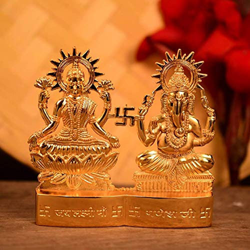 Hashcart Hindu God Lakshmi Ganesh Metal Figurine Idol Set Statue Gift for Home/Décor/Pooja/Wedding/Anniversary/House Warming, 4 ()