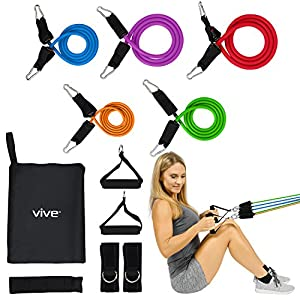 VIVE Tube Resistance Band Set Door Anchor Included - Fitness Workout Exercise Equipment Elastic Training Aid for Fit Men, Women, Arm, Legs, Butt, Ankle Stretch, Rehab Therapy - Home Gym Workout