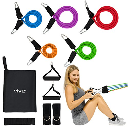 Vive 5 Piece Resistance Band Set with Handles and Door Anchor - Adjustable Tube Tension Between 2 to 70 LBs - Elastic Fitness Equipment - Workout Training for Men and Women - Home Gym Rehab Therapy