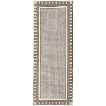 Ottomanson JRD8838 3X7 Jardin Collection Contemporary Bordered Design Indoor /Outdoor Jute Backing Runner Rug
