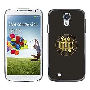 Caucho caso de Shell duro de la cubierta de accesorios de protección BY RAYDREAMMM - Samsung Galaxy S4 I9500 - Gold Medieval Logo Grey
