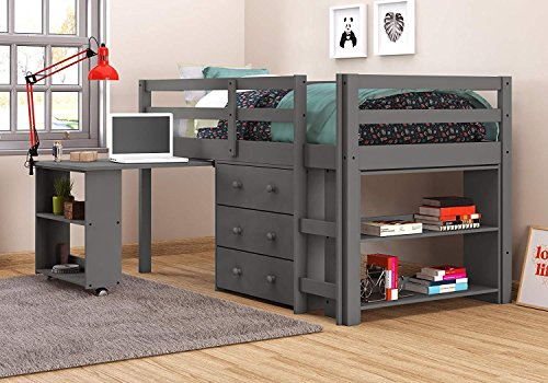 DONCO KIDS 760-TDG Low Loft Bed with Desk, Twin, Dark Grey