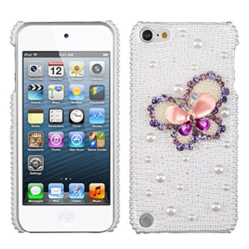 Asmyna Purple Butterfly Pearl 3D Diamante Back Protector Cover with Package for iPod touch 5