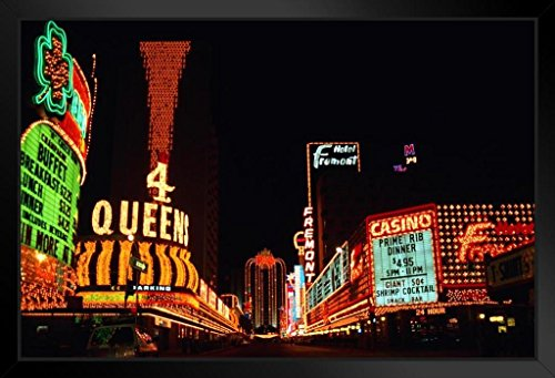 Sands Casino Las Vegas (Vintage Neon Signs of Fremont Street Las Vegas Nevada Photo Art Print Framed Poster 18x12 by ProFrames inch)