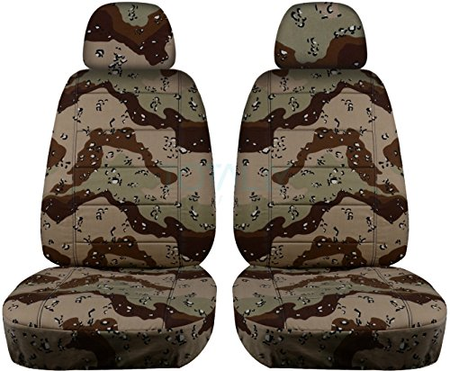 Storm Fit Bucket - Camouflage Car Seat Covers w 2 Separate Headrest Covers: Desert Storm Camo - Universal Fit - Front - Buckets - Option for Airbag, Seat Belt, Armrest & Seat Release/Lever Compatible (22 Prints)