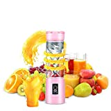 Advaka Portable Juicer Cup USB Rechargeable Juicer Cup 500ml Electric Blender Fruit Mixing Machine with USB Charger Cable (Pink)