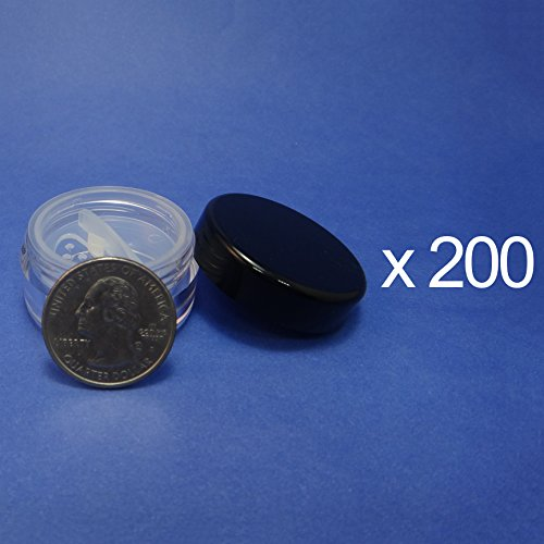 200 Pcs Made in Taiwan 10 g Travel Size Sifter Loose Powder Plastic Jar with Rotating Sifter & Black Lid by TOPFASHION89
