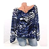 Womens Tops Clearance - WEUIE Womens Casual Long Sleeve Blue Stripe Button T-Shirts Irregular Tops Blouse(S, Blue)
