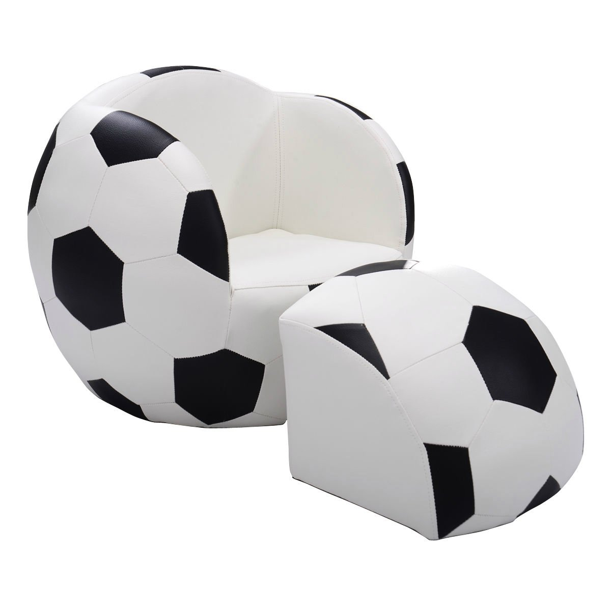 Children Soccer Ball Sofa with Ottoman Fun Multi-functional Sofa Kids Room Bedroom Playroom