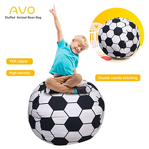 "AUO Extra-Large Stuffed Animal Storage Bean Bag-100% high-density(Kids Bean Bag 38"", Football pattern)"