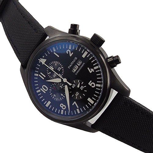 Parnis 42MM Black Dial PVD Case Full Chronograph Luminous Japan Quartz Men's Watch Week Date Display