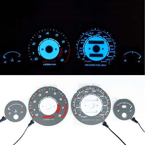 BAR Autotech  For Acura Integra LS RS GS 90-93 MPH Blue/Green Indiglo EL GLOW GAUGE Gray face