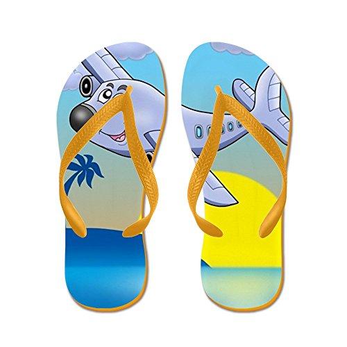 CafePress Sunset With Airplane - Color Illustrati - Flip Flops, Funny Thong Sandals, Beach Sandals Orange