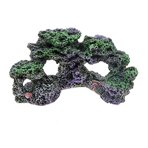 Saim Mountain View Aquarium Coral Reef Rockery Hiding Cave Stone Landscape Decor Fish Tank Ornaments -
