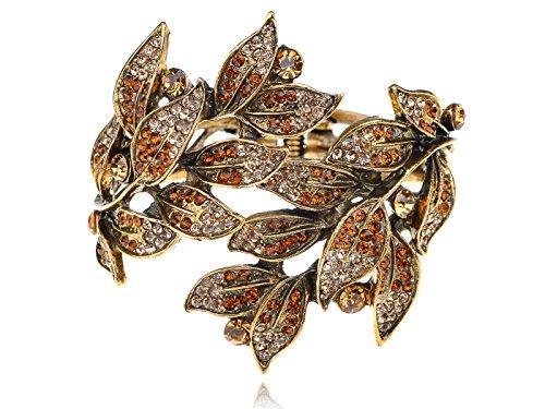 Alilang Golden Tone Peach Topaz Colored Rhinestones Leaf Cuff Wrap Bracelet (Colored Rhinestone Costume Jewelry)