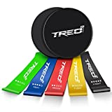 TREO Core Sliders – 5 Exercise Resistance Bands w/Carry Bag Home Fitness Double-Sided Exercise Sliders and Resistance Bands For Low Impact, High Intensity Abs, Glutes and Core Strengthening For Sale