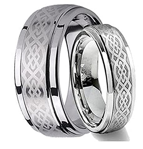 His & Her's 8MM/6MM Tungsten Carbide Wedding Band Ring Set w/Laser Etched Celtic Design (His And Her Rings Tungsten)