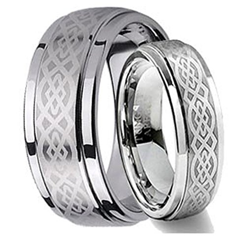 Hers Tungsten Etched Design - His & Her's 8MM/6MM Tungsten Carbide Wedding Band Ring Set w/Laser Etched Celtic Design