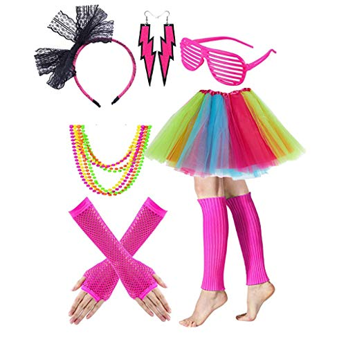 Gywantt 80s Costumes for Women, 80s Accessories Set Adult Tutu Skirt Leg Warmers Fishnet Gloves Earrings Necklace Shutter Glass Lace Hairband for 80s Party Accessory ()