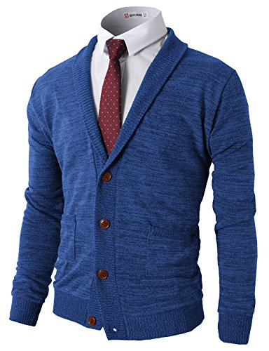 H2H Mens Slim Fit Soft Shawl Collar Cardigan Sweater with ...