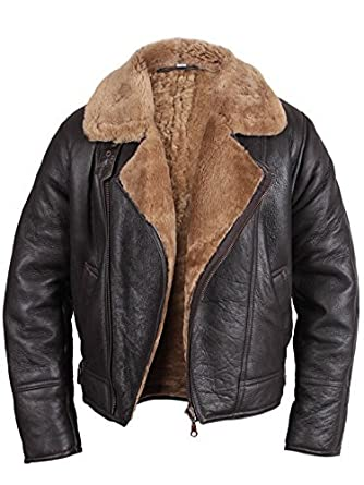 Brandslock Mens Aviator Shearling Sheepskin Leather Bomber Flying ...
