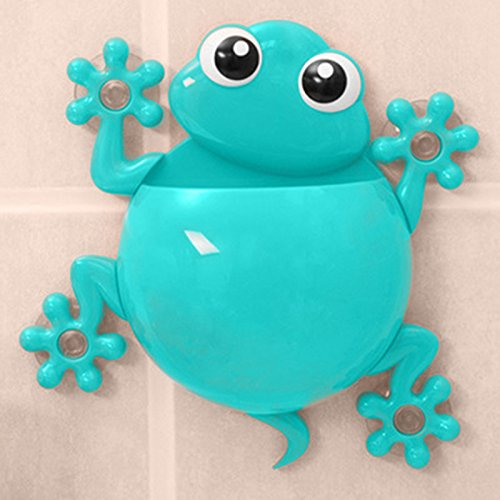 CALISTOUK Cute Cup Bathroom Toothbrush Stuff Animal Frog Wall Suction Organizer Holder,Rose