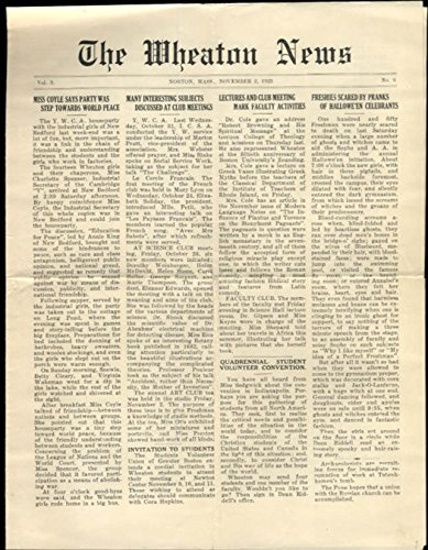 Wheaton College NEWS Norton MA 11/2 1923 Halloween pranks World Peace