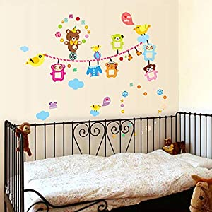 ufengke Animals Photo Picture Frame Wall Stickers Bears Birds Removable Vinyl Wall Decals Home Decor for Kids Nursery Living Room