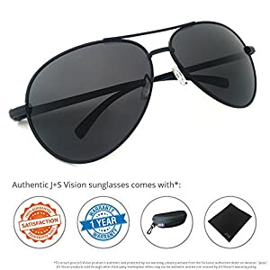 J+S Premium Ultra Sleek, Military Style, Sports Aviator Sunglasses, Polarized, 100% UV protection (Large Frame - Matte Black Frame/Black Lens)