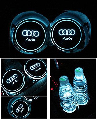 Bearfire Car Logo LED Cup Pad led cup coaster USB Charging Mat Luminescent Cup Pad LED Mat Interior Atmosphere Lamp Decoration Light (Audi)