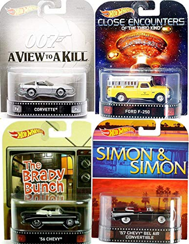 Mix Entertainment 4 Pack Hot Wheels Retro James Bond 80's Corvette + Close Encounters Ford F-250 Pickup Truck + Simon & Simon Chevy Bel Air TV Show Convertible Car & Brady Bunch Chevy Series Bundle