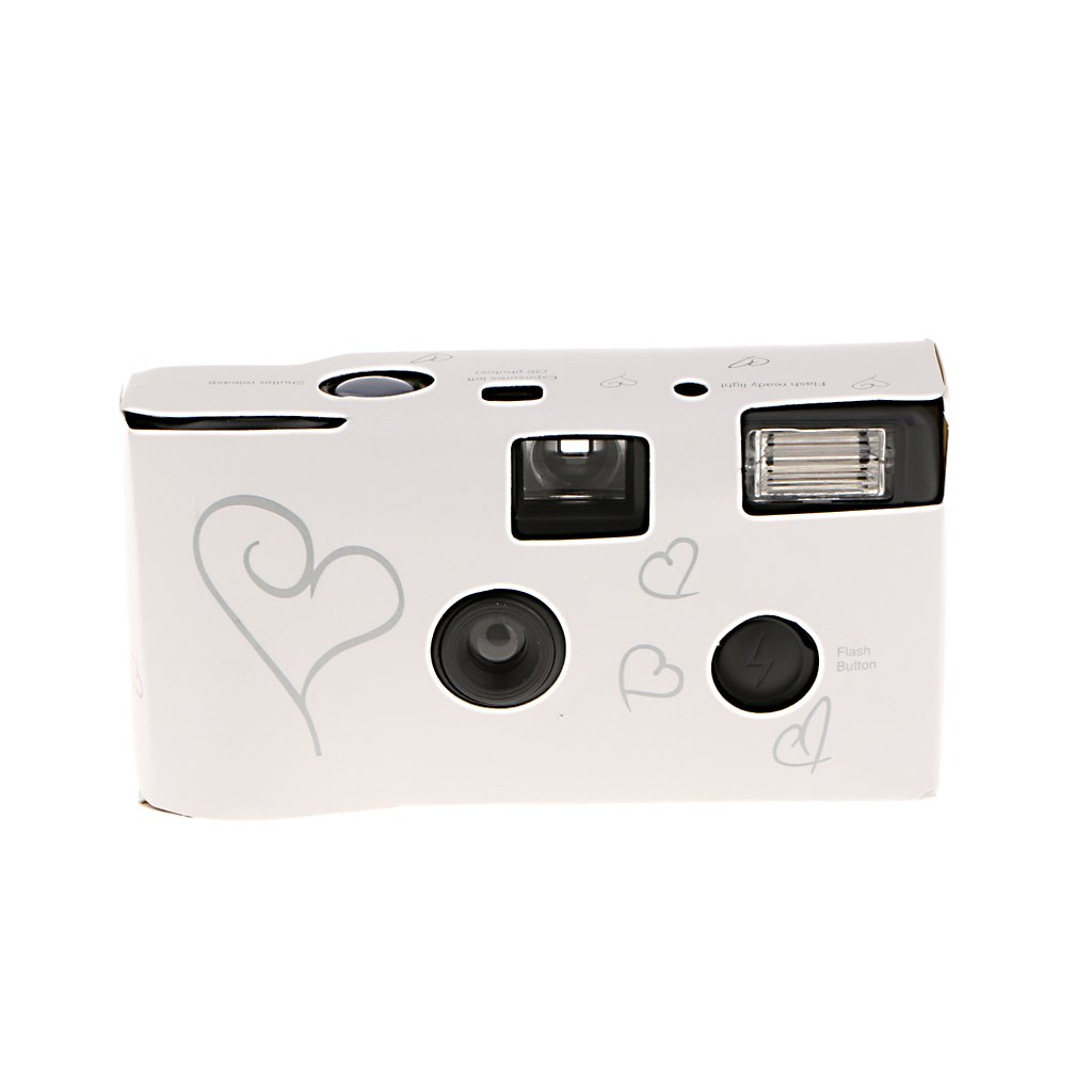 Jili Online Hearts Disposable 36exp Wedding Bridal Camera with Flash and Table Card