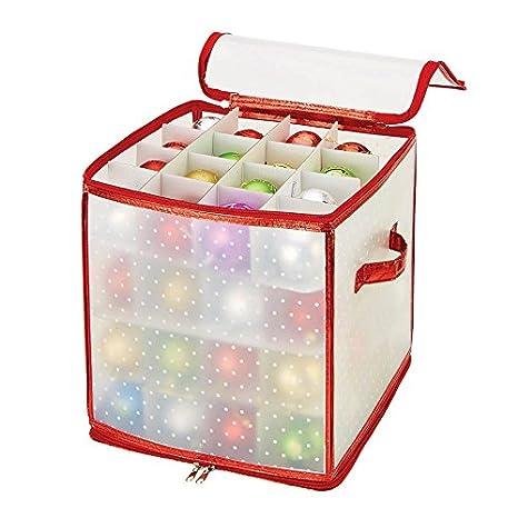 Simplify Ornament Storage Box/Plastic - Decorative Organizer - Storage Bin - Red - 112 Counts - L12 x W12 x H12 Kennedy International 9003-RED