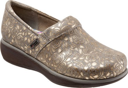 SoftWalk Frauen Meredith Clog Graues metallisches Leder