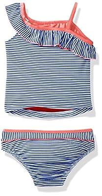 Tommy Bahama Girls' One Shoulder Striped Two Piece Bikini
