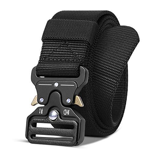 Men's Tactical Web Belt for Dress,Soft Canvas Nylon Belt with Metal Buckle 1.5 Inch