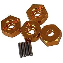 Mxfans 4pcs Aluminum Alloy 12x5mm Mount Wheel Hex Hub CC01-005 for TAMIYA CC01 4WD RC 1/10 Yellow